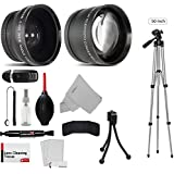 58mm Essential Lens and 50-Inch Tripod Kit For The Canon EOS Rebel T7i, T6s, T6i, SL1, SL2, T5, T5i, T4i, T3, T3i, T2i, 80D, 77D, 70D, 60D, 60Da, 50D, 40D, 7D, 6D, 5D, 5DS R, 1D Digital SLR Camera