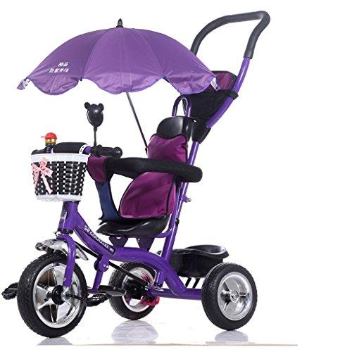 Chariot pliant de vélo pour enfants 1-6 ans, poussette de bébé, tige de poussée détachable, parasol, violet ( Size : Foam wheel )