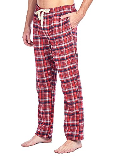 (Ashford & Brooks Mens Super Soft Flannel Plaid Pajama Sleep Pants - Red Navy - Small)