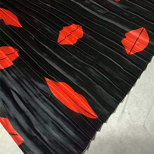 Black Big Striped Lipstick Printing Crushed Imitated Silk Satin Sewing Fabric Cloth for Skirt Dress Pleated Fabric Streching 1M