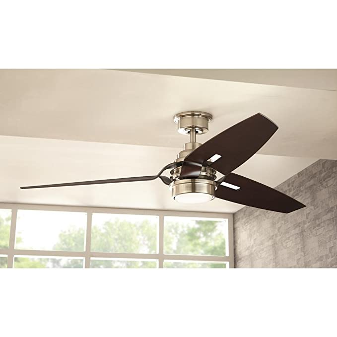Home decorators collection iron crest 60 in led dc motor indoor brushed nickel ceiling fan with light kit and remote control amazon com