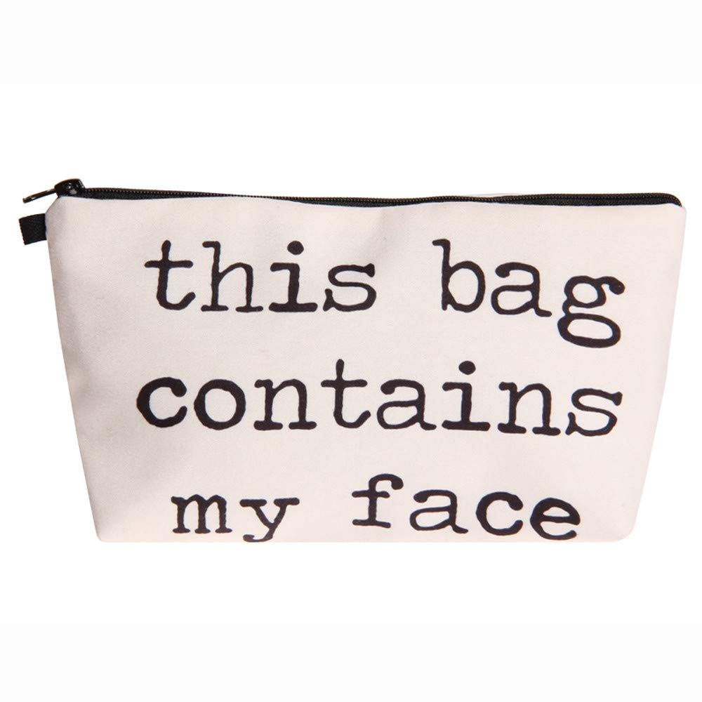 Unpara Women 3D Letters Printing Toiletry Bag Makeup Cosmetic Organizer Storage Travel Wash Handbag (C)