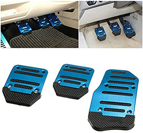 Vosarea 3pcs Aluminum Car Pedal Cover Manual Transmission Foot Pedals Brake Pads Kit