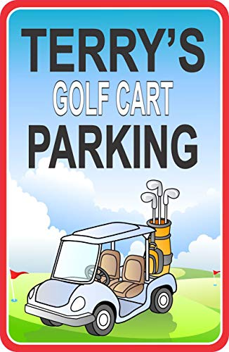 Golf Cart Parking, Custom Sign, Gift For Golfing Fans, PGA Lovers, Name Wall Hanging, Man Cave Decoration, Sports Décor, Golfers (Golf Greens Address Plaque)