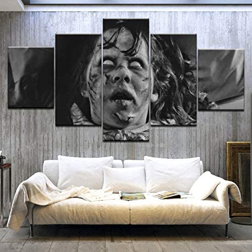 QYLLXSYY 5 Panelpieces HD Print Linda Blair The Exorcist Movie Wall Posters Print On Canvas Art Painting for Home Living Room Decoration Printed Picture (Color : No Frame, Size (Inch) : Size2)