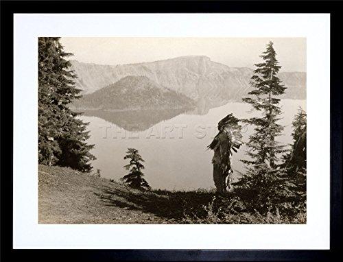 Framed Print Lake (VINTAGE PHOTO LANDSCAPE CRATER LAKE OREGON NATIVE AMERICAN FRAMED ART PRINT PICTURE & MOUNT F12X1732)