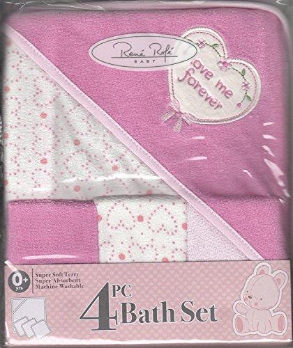 René Rofé Bon Bebe 4 Pc Set Bath & Blanket trois débarbouillettes (rose / blanc)