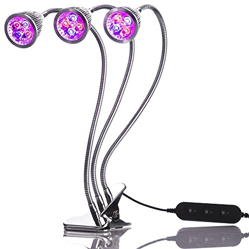 Triple Led Light (Triple Head LED Grow Light, Desk Clip Lamp with 360 Flexible Gooseneck and triple independent switch)