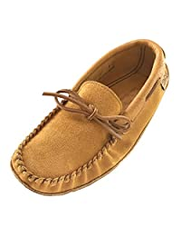 Laurentian Chief Men's Dark Tan Suede Moccasins with Moosehide Trim