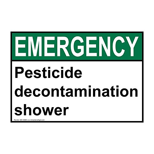 Emergency Pesticide Decontamination Shower ANSI Safety Sign, 14x10 in. Aluminum by ComplianceSigns