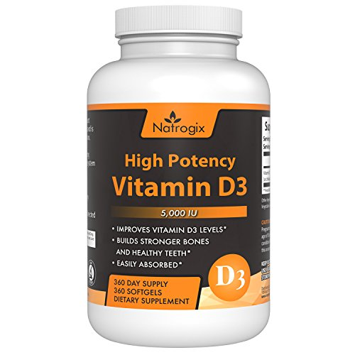 High Potency Vitamin D3 5,000 IU 360-Day Supply (Cholecalciferol) Supplement - The Formula Helps for Healthy Bones and (Premier Labs Liquid Vitamin D)