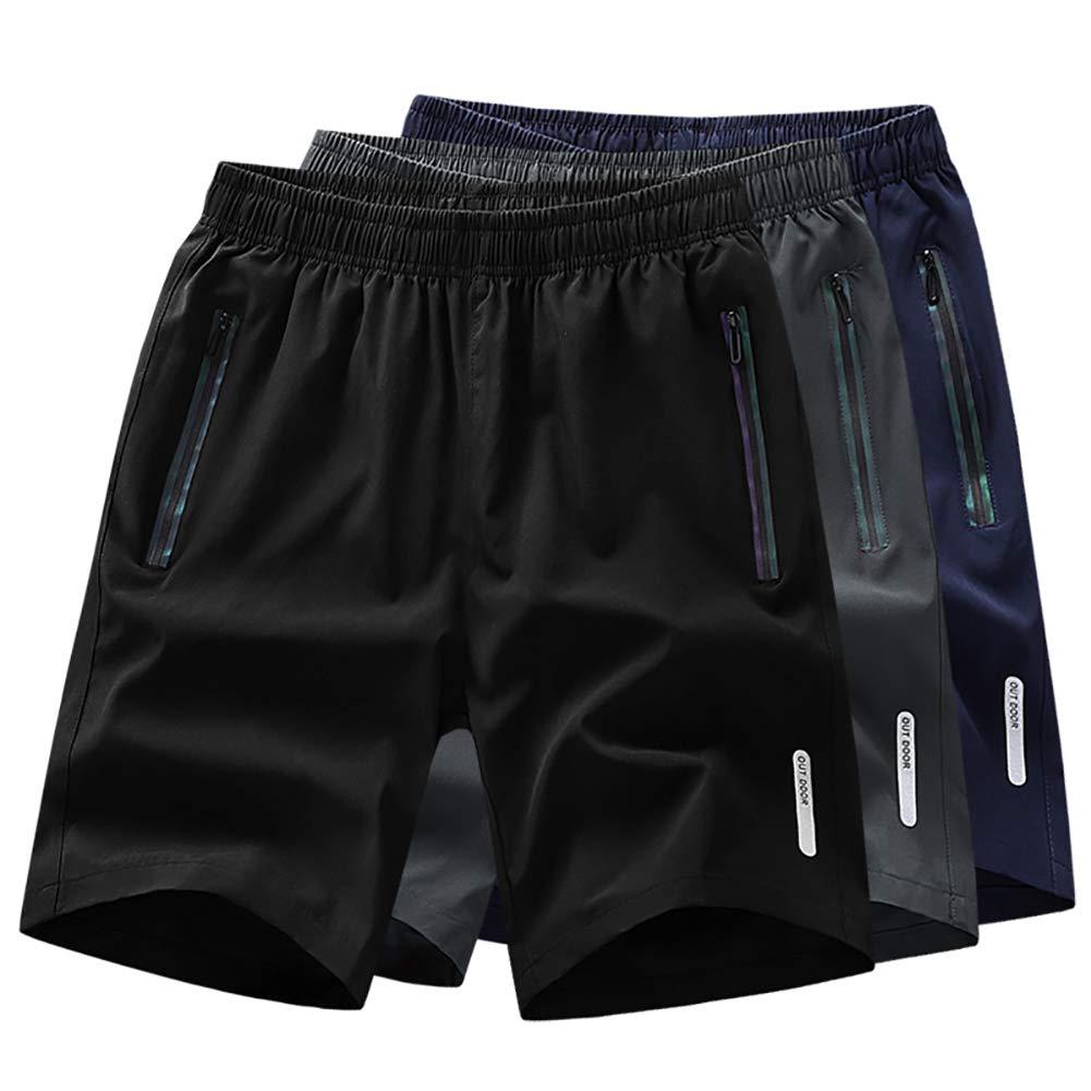 TACVASEN Reflektierende Linie Design Herren Schnell Trocknend Leichte Laufsport Fitness Shorts mit Rei/ßverschlusstaschen