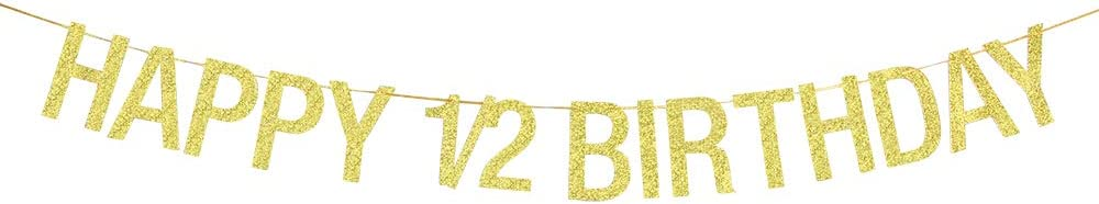 Babys 6 Months Photo Props Gold Glitter 5.9 ft Happy 1//2 Birthday Banner Birthday Hanging Paper flag Half Year Old Birthday Party Decoration Supplies