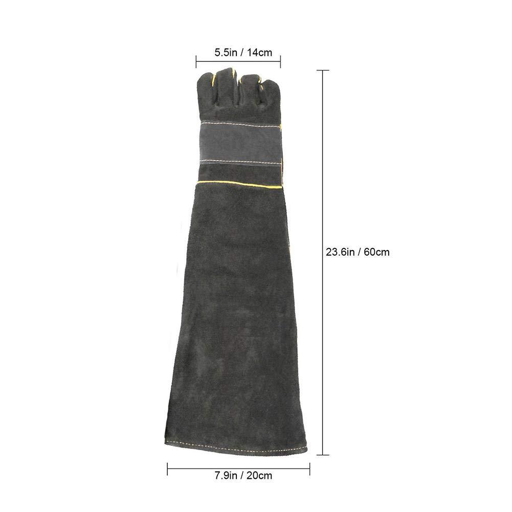 60cm//23,6in Longs Gants en Cuir de Protection Gants Anti morsures pour Chat et Chien Gants Anti Coupure Vert PROKTH Gant de Cuisine Gants Jardinage