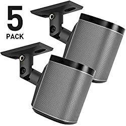 PERLESMITH Speaker Mounts - Universal Satellite Speaker Wall Brackets, 5 Pack - Adjustable Tilt and Swivel for Large Surround Sound Speakers - for Walls and Ceilings - Holds up to 8lbs
