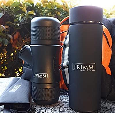 Trimm Original | Mini Portable Espresso Coffee Maker & Thermos Bottle for Hot Liquids | Traveling Coffee Maker | Caffe Espresso Machine | No Battery Power Needed| (Black) by China