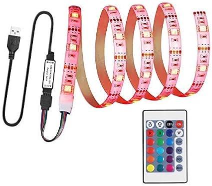 LEDMOMO Luces de tira del LED, luz posterior de la tira del USB LED TV con control remoto Iluminación de Bias impermeable del color para la decoración interior de la fiesta del club 5V 1M