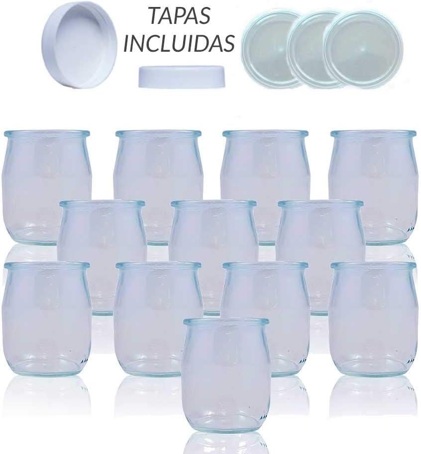 Vasos yogurtera de cristal con tapa pack de 12 botes para yogurtera de 143 Ml tarros para postres recipiente para moulinex, lidl, severin, braum y resto de yogurteras ...