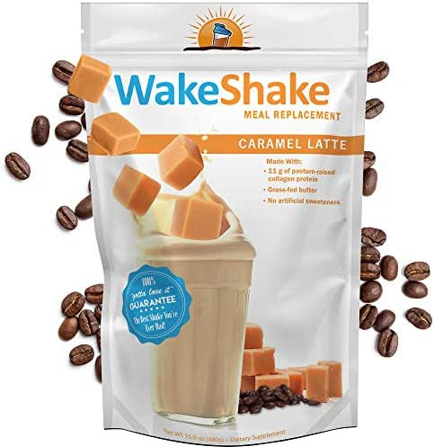 WakeShake Collagen Protein Meal Replacement Shake - Caramel Latte Flavor (15 Servings)