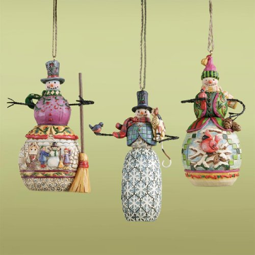 Jim Shore - Heartwood Creek - Set Of 3 Hanging Snowmen Ornaments (Snowmen Ornament Set)
