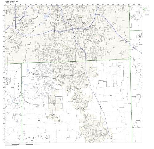 Greenwood, IN ZIP Code Map Laminated (Zip City Greenwood)