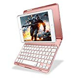 KIWETASO iPad mini 3/2 keyboard case, iPad mini keyboard cover RGB 7 colors backlits 135 degree swivel auto wake/sleep apple iPad mini 3/2 (Rose Gold)