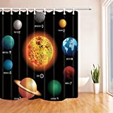 NYMB Solar System Orbit the Sun with Names Of Planets Geography Kids Shower Curtain 69X70 inches Mildew Resistant Polyester Fabric Bathroom Fantastic Decorations Bath Curtains Hooks Included (Multi30)
