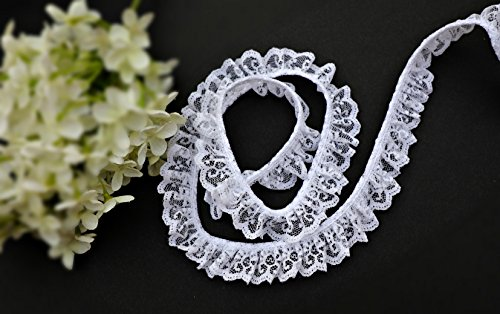 "1"" White Gathered Ruffled Raschel Lace Trim Lot Wholesale Notions DIY Sewing (SU722R_1"" wide_10 yards)"