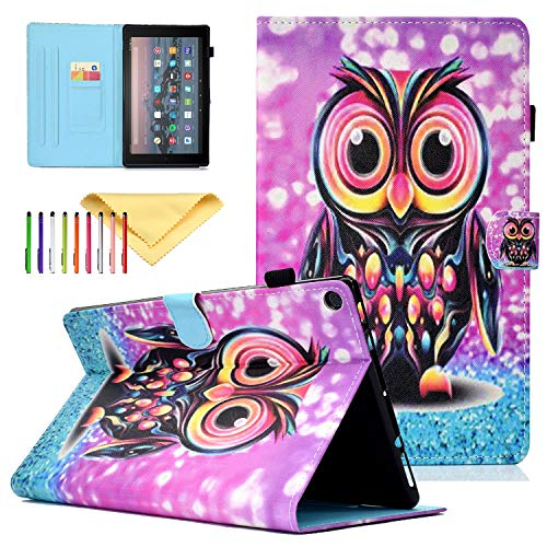 Cookk Fire HD 10 Case 2017, Cover for Kindle Fire HD 10 2015 - PU Leather Smart Cover [Auto Sleep/Wake] Stand Wallet Purse Case for All-New Amazon Fire HD 10 5th/2012 7th/2017, Purple Owl - Owl Pink 2012