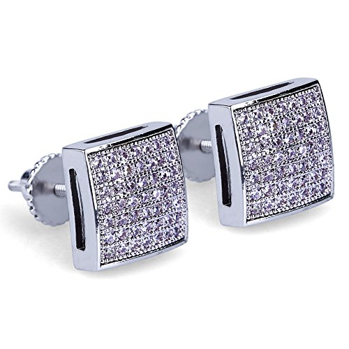 Silver Tone Screw Design - Men's Hip Hop Iced Out XL Large Square Flat Screen Block Screw Back Stud Earring (SILVER TONE)