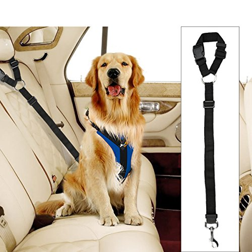 - Docamor Adjustable Pet Dog Cat Car Seat Belt Strap Restraint Safety Leads Vehicle Seatbelt Harness Nylon Fabric Elastic Durable Belt for Car