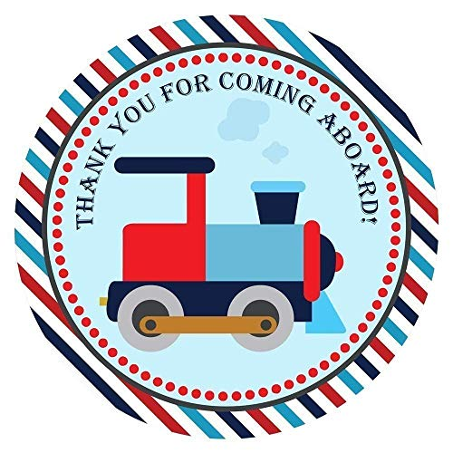 Train Thank You Sticker Labels - Kids Children Boy Birthday Baby Shower Party Supplies - Set of 30]()