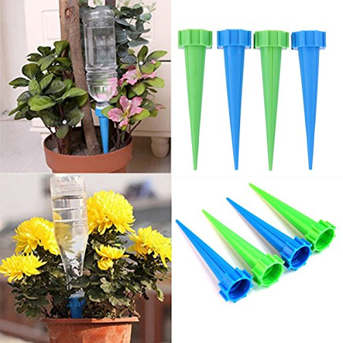 TACOLI - Garden Cone Watering Spikes Drip-4 Pcs/Lot Indoor Automatic Garden Cone Watering Spike Plant Flower Waterers Bottle Drip Irrigation Tips Houseplant Water Spikes -