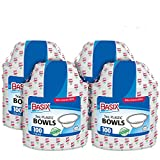 Basix 100 Count Disposable Plastic Bowls Microwave Safe 5 Ounce, White Pack Of 4 (400 Bowls Total)
