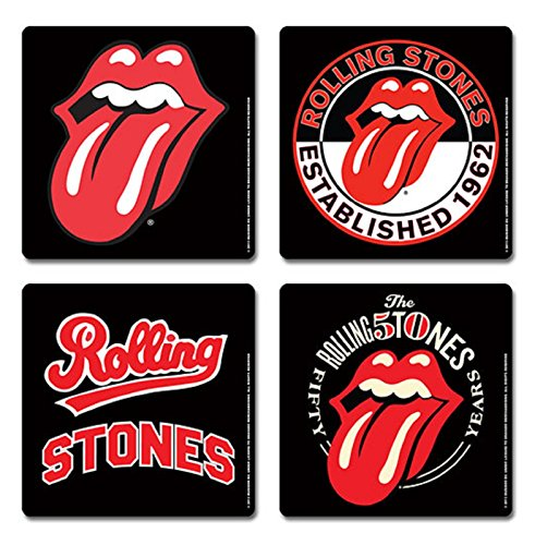 The Rolling Stones Coaster Tongue Icons Band Logo Official Cork Set