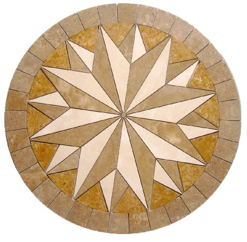 - Tile Floor Medallion Marble Mosaic Gold Multi Star Design 36
