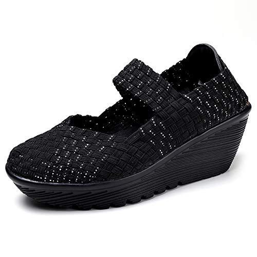 HKR Platform Wedge Sandals for Women Lightweight Stretchy Woven Mary Jane Walking Shoes Black Silver 5.5 US(889heiyin35)