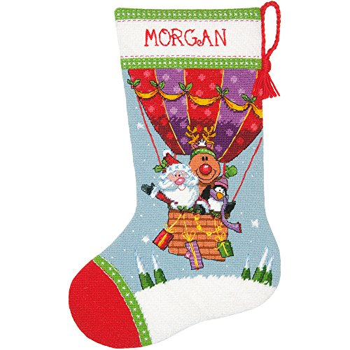 Dimensions Needlepoint Santa's Balloon Ride Personalized Christmas Stocking Kit, Printed 12 Mesh Canvas, 16'',