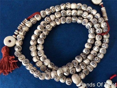 Tibetan Mala Carved Yak Bone Mala 108 Beads for Meditation