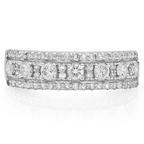 14K White Gold Round Gemstone & White Diamond Ladies Anniversary Wedding Band