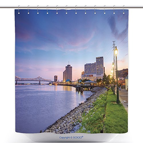 vanfan-Durable Shower Curtains Downtown New Orleans Louisiana And The Missisippi River At Twilight Polyester Bathroom Shower Curtain Set With Hooks(60 x 78 - River New Walk Orleans