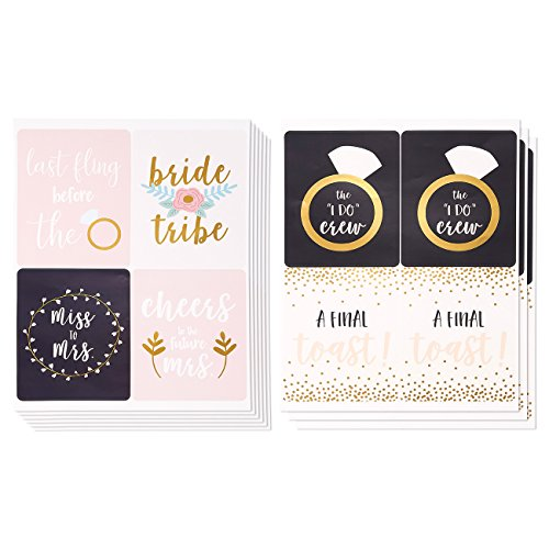 36-Count Bridesmaid Labels - Wine Bottle Label Stickers for Bachelorette, Engagement Parties, Bridal Showers, Ideal Pre-Wedding Party Gift Supplies in 6 Assorted Designs, 6 of Each - 4 x 5 Inches Sticker Labels Set