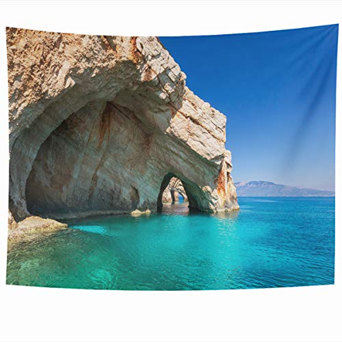 Armko Tapestry Wall Hanging Art 80 x 60 Inches Bay Blue Beach Sea On Zakynthos Island Greece Nature Parks Amazing Greek Inspiring Destination Design Home Tapestries Office Bedroom Living Room Dorm
