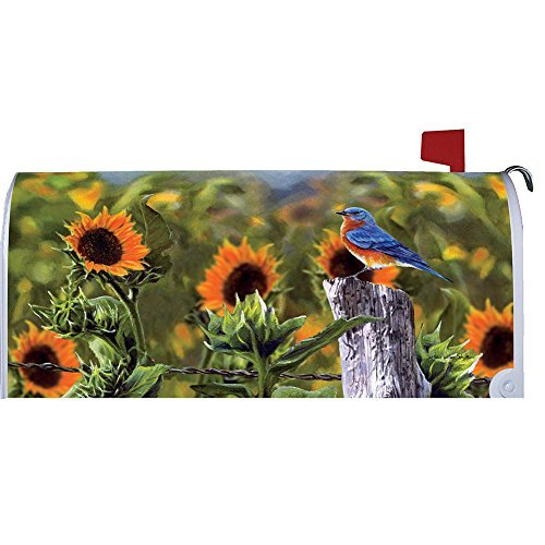 Bluebird Sunflowers - Mailbox Makeover - Vinyl with Magnetic Strips - Licensed, Copyrighted and Made in the USA by Custom Decor Inc.