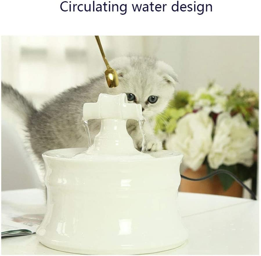 Dogs and Small Animals 1.6L Indoor and Outdoor Automatic Electric Cat Drinking Water Dispenser Portable Hygienic Replaceable Filter Flower Style Water Bowl for Cats Pet Water Fountain