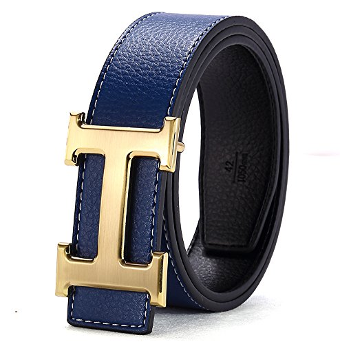 H Belts for Men Business Casual Leather Belt 1.5inch Wide (Waist Size 35-37 inch, Blue - Designer Belt