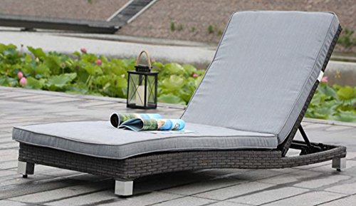 Modern Home Solana Woven Rattan Lounger - Brushed Gray (Chaise Chairs Lounge Unusual)