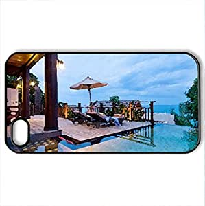 Beautiful Villa - Case Cover for iPhone 4 and 4s (Houses Series, Watercolor style, Black)