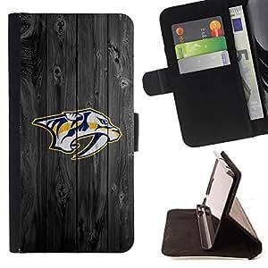BullDog Case - FOR/Apple Iphone 5 / 5S / - / Nashville Predator Ice Hockey /- Monedero de cuero de la PU Llevar cubierta de la caja con el ID Credit Card Slots Flip funda de cuer
