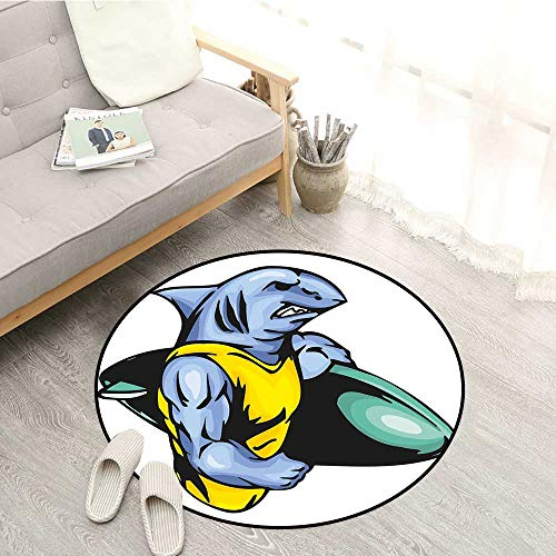 (Shark Bedroom Rugs Grumpy Surfer Shark with Muscled Body Exotic Sports Mascot Cartoon Children Crawling Bedroom Rug 4'3